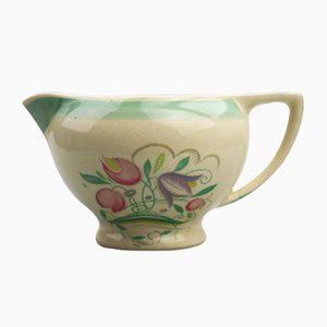 Vintage British Art Pottery Dresden Spray Gravy Jug by Susie Cooper for Crown Works, 1932