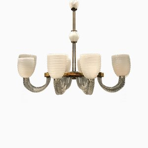 Art Deco Murano Glass Chandelier by Barovier Toso, 1940s