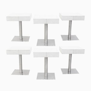 Vintage Chrome and White Leather Stools, Set of 6