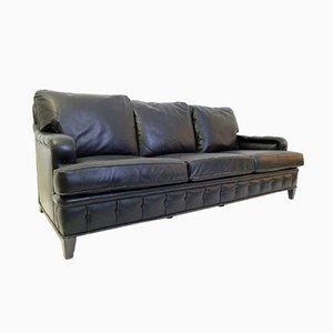 Schwarzes Vintage 3-Sitzer Ledersofa
