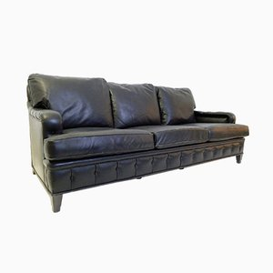 Vintage Black Leather 3-Seater Sofa