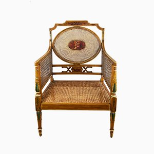 Antique Victorian Satin and Birch Armchair from Howard & Sons Berner Street