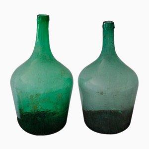 Botellas de vino húngaras verdes, años 60. Juego de 2