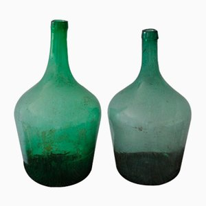 Hungarian Green Wine Bottles, 1960s, Set of 2