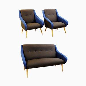 Italienische Vintage Wohnzimmergarnitur in Schokoladenbraun & Blau, 3er Set
