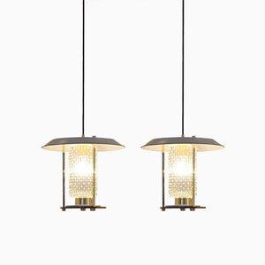 Lámparas colgantes minimalistas de vidrio y latón, años 60. Juego de 2