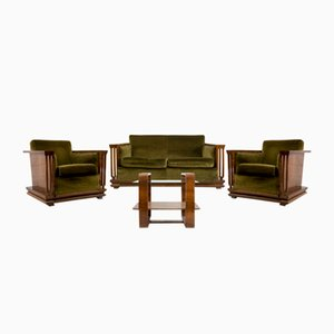 Vintage Walnut Living Room Set, 1920s, Set of 4