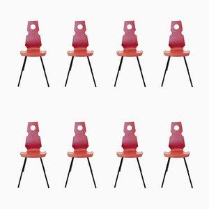 Chaises d'Appoint Vintage en Bois, Set de 8