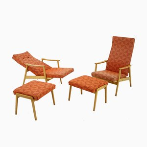 Armchairs and Footstools Set from Thon, 1970s