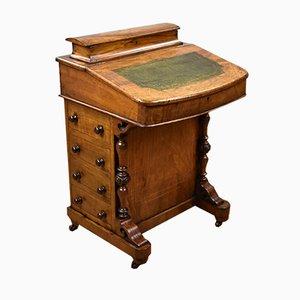 Antiker Davenport Schreibtisch aus Nussholz mit Intarsien