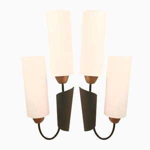Modernist Brass and Cotton Sconces, 1950s, Set of 2