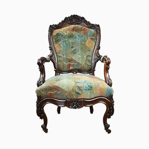 Antique French Rosewood Carved Armchair