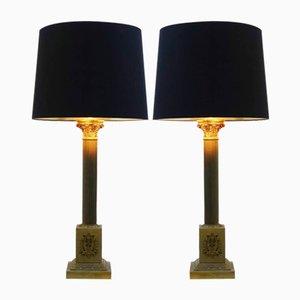 Lampes de Bureau Colonnes Vintage, Set de 2