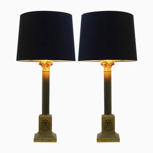 Vintage Column Table Lamps, Set of 2