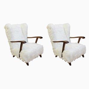 Mid-Century Sessel mit Kunstfellbezug, 2er Set