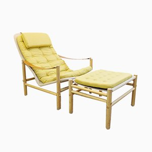 Vintage Lounge Chair and Ottoman Set by Bror Boije for Dux, 1960s, Set of 2