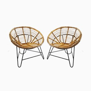 Vintage Rattan and Metal Armchairs, Set of 2
