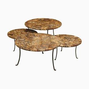 Mesas de centro vintage de madera petrificada y hierro forjado. Juego de 4