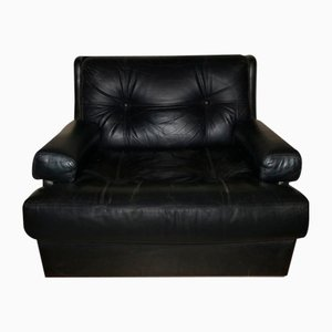 Black Leather Lounge Chair from Dux, 1960s