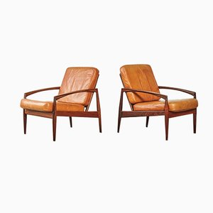 Danish Rosewood Paper Knife Lounge Chairs by Kai Kristiansen for Magnus Olesen, 1960s, Set of 2