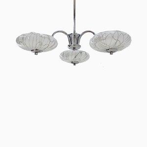 Lámpara de araña Art Déco de cromo de Napako, años 30