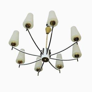 Lámpara de araña italiana Mid-Century de latón y vidrio artístico, años 60