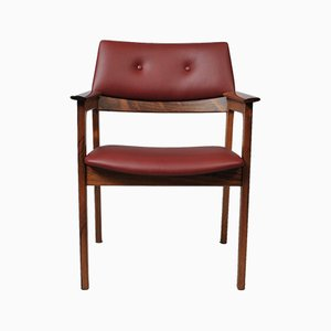 Mid-Century Danish Rosewood and Leather Armchair
