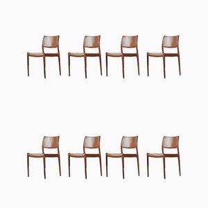 Chaises de Salon Modèle 80 en Palissandre par Niels Otto Møller pour JL Møller, Danemark, années 60, Set de 8