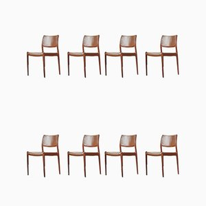 Danish Model 80 Rosewood Dining Chairs by Niels Otto Møller for J.L Møller, 1960s, Set of 8