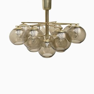 Mid-Century Brass & Smoked Glass Chandelier by Hans-Agne Jakobsson for Markaryd
