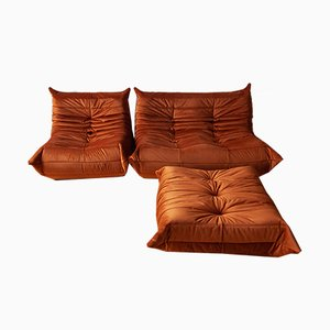 Vintage Amber Velvet Togo Living Room Set by Michel Ducaroy for Ligne Roset, Set of 3