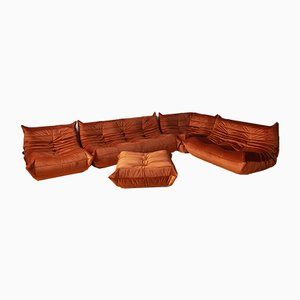 Amber Velvet Togo Living Room Set by Michel Ducaroy for Ligne Roset, 1979, Set of 5