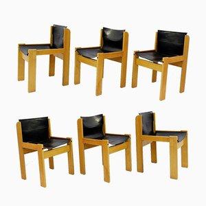 Italienische Vintage Sling Stühle mit Lederbespannung von Ibisco, 6er Set