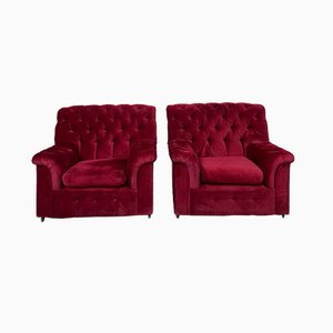 Red Velvet Chesterfield Club Chairs, 1980s, Set of 2