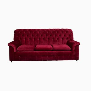 Chesterfield Sofa mit rotem Samtbezug, 1980er