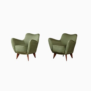 Italian Perla Armchairs by Giulia Veronesi for I.S.A. Bergamo, 1950s, Set of 2