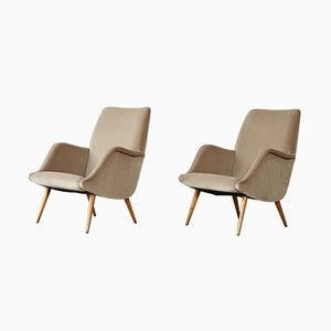 Italian Oak Model 806 Armchairs by Carlo de Carli for Cassina, 1950s, Set of 2