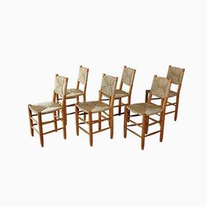 Französische Modell 19 Bauche Esszimmerstühle von Charlotte Perriand, 1950er, 6er Set