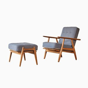 Danish Model GE-240 Cigar Chair and Ottoman by Hans J. Wegner for Getama, 1960s, Set of 2
