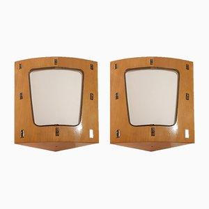 Wandleuchten aus Holz & Messing, 1950er, 2er Set