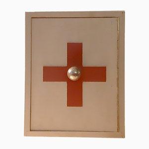Aparador médico Mid-Century de madera y baquelita, años 40