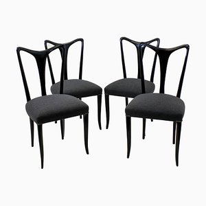 Italian Wood and Fabric Dining Chairs by Guglielmo Ulrich, 1950s, Set of 4