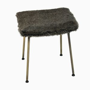 Mid-Century English Brass and Faux Fur Stool, 1950s