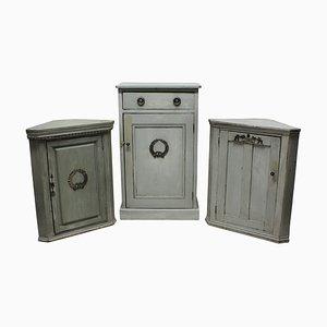 Mobiletti antichi gustaviani in legno e argento, set di 3