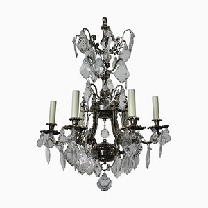 Antique French Silver and Cut Glass Chandelier, 1880s