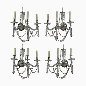 Antique English Cut Glass Sconces, 1880s, Set of 4