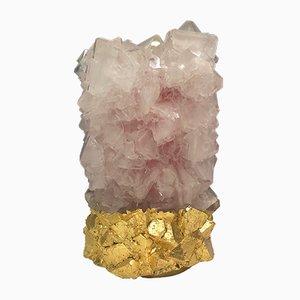 Jarrón pequeño de cristal rosa antiguo dorado de Isaac Monté