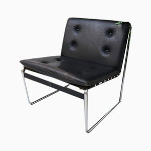 Mid-Century Black Leather Lounge Chair from DeWe