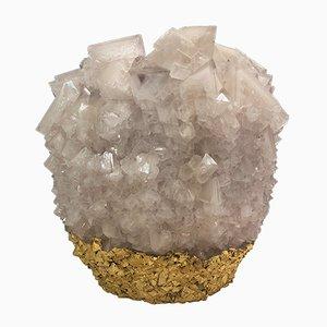 Mittlere Kristallvase in Gold & Pink von Isaac Monté