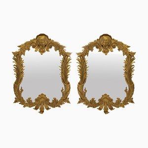 Espejos estilo George III vintage de madera dorada, años 50. Juego de 2